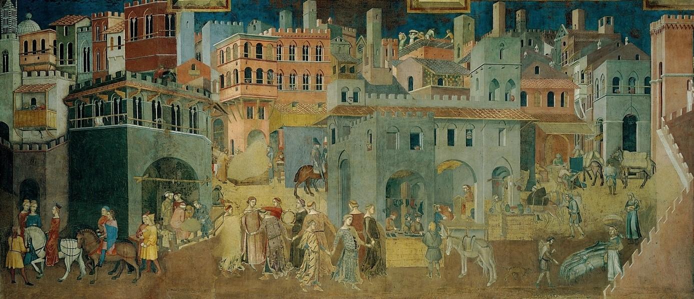 Tableau du peintre italien, Lorenzetti Ambrogio, sur le thème de la gouvernance